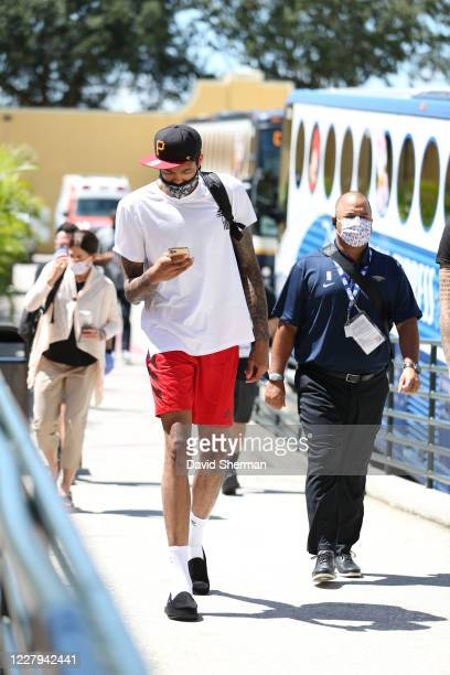 Brandon Ingram of the New Orleans Pelicans arrives for the game against the Sacramento Kings on August 6 2020 at The Arena at ESPN Wide World of...