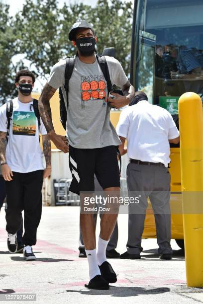 Brandon Ingram of the New Orleans Pelicans arrives to the arena before the game against the San Antonio Spurs on August 9 2020 in Orlando Florida at...