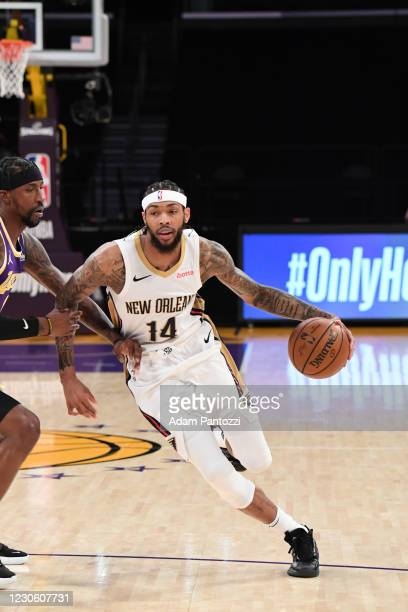 Brandon Ingram of the New Orleans Pelicans dribbles the ball during the game against the Los Angeles Lakers on January 15, 2021 at STAPLES Center in...