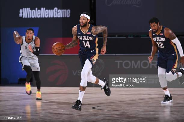 Brandon Ingram of the New Orleans Pelicans dribbles the ball up court on August 9 2020 at The Field House at ESPN Wide World of Sports in Orlando...