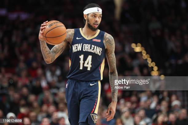 Brandon Ingram of the New Orleans Pelicans dribbles with the ball in the fourth quarter against the Portland Trail Blazers during their game at Moda...