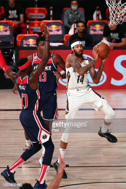 Brandon Ingram of the New Orleans Pelicans drives to the basket against Isaac Bonga of the Washington Wizards during the first quarter in an NBA...