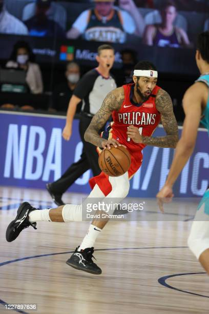 Brandon Ingram of the New Orleans Pelicans drives to the basket against the Memphis Grizzlies on August 3 2020 at HP Field House at ESPN Wide World...