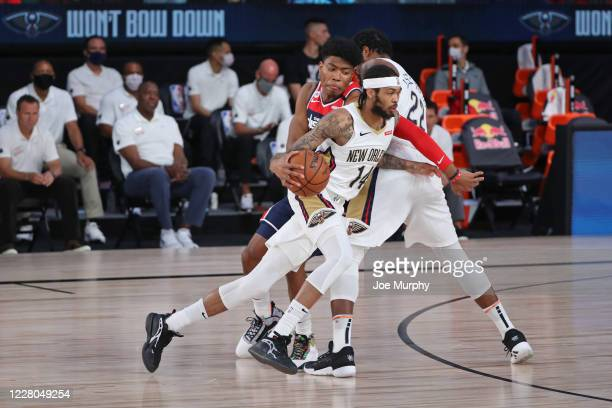 Brandon Ingram of the New Orleans Pelicans drives to the basket against the Washington Wizards on August 7 2020 at The Arena at ESPN Wide World of...