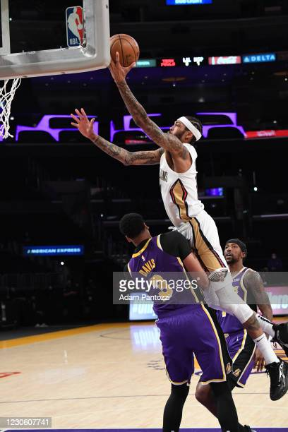Brandon Ingram of the New Orleans Pelicans drives to the basket during the game against the Los Angeles Lakers on January 15, 2021 at STAPLES Center...