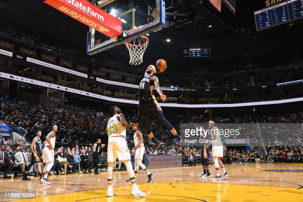 Brandon Ingram of the New Orleans Pelicans dunks the ball against the Golden State Warriors on December 20 2019 at Chase Center in San Francisco...