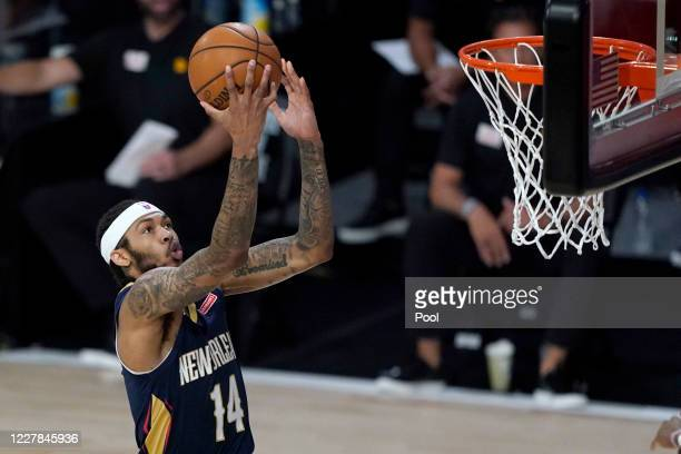 Brandon Ingram of the New Orleans Pelicans goes to the basket against the Utah Jazz at HP Field House at ESPN Wide World Of Sports Complex on July...