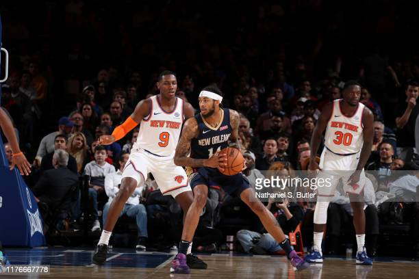 Brandon Ingram of the New Orleans Pelicans handles the ball against the New York Knicks during a preseason game on October 18 2019 at Madison Square...