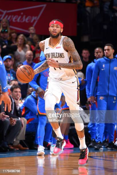 Brandon Ingram of the New Orleans Pelicans handles the ball against the Oklahoma City Thunder on November 2 2019 at Chesapeake Energy Arena in...