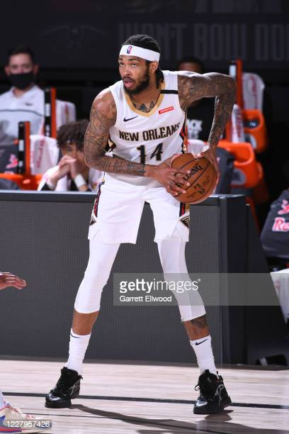 Brandon Ingram of the New Orleans Pelicans handles the ball against the Washington Wizards on August 7, 2020 at Visa Athletic Center at ESPN Wide...