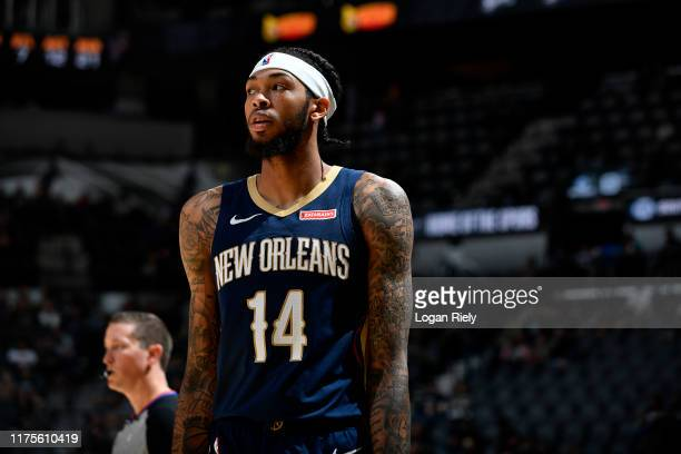 Brandon Ingram of the New Orleans Pelicans looks on against the San Antonio Spurs during a preseason game on October 13 2019 at the ATT Center in San...