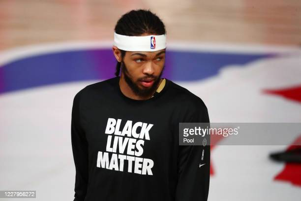 Brandon Ingram of the New Orleans Pelicans looks on before an NBA basketball game against the Washington Wizards at Visa Athletic Center at ESPN Wide...