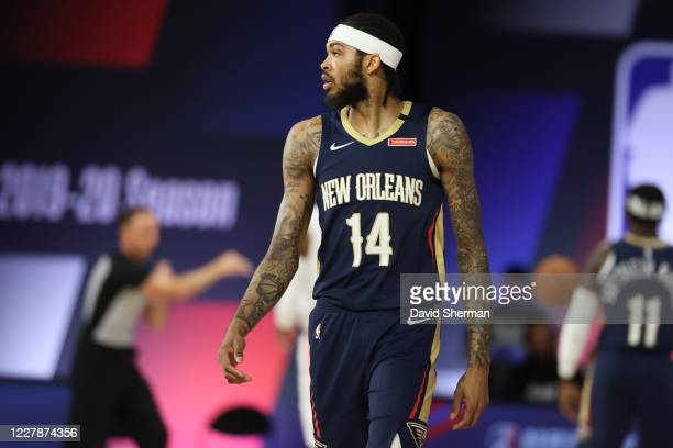 Brandon Ingram of the New Orleans Pelicans looks on during game LA Clippers on August 1, 2020 at HP Field House at ESPN Wide World of Sports in...