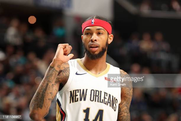 Brandon Ingram of the New Orleans Pelicans looks on during the game against the Charlotte Hornets on November 9 2019 at Spectrum Center in Charlotte...