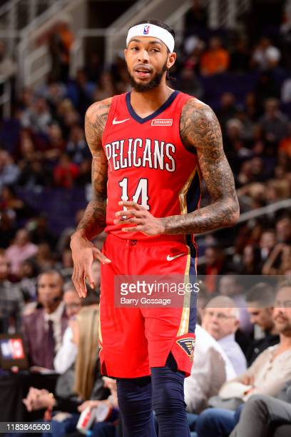 Brandon Ingram of the New Orleans Pelicans looks on during the game against the Phoenix Suns on November 21 2019 at Talking Stick Resort Arena in...