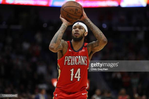 Brandon Ingram of the New Orleans Pelicans makes a free throw against the Utah Jazz at Smoothie King Center on January 16 2020 in New Orleans...
