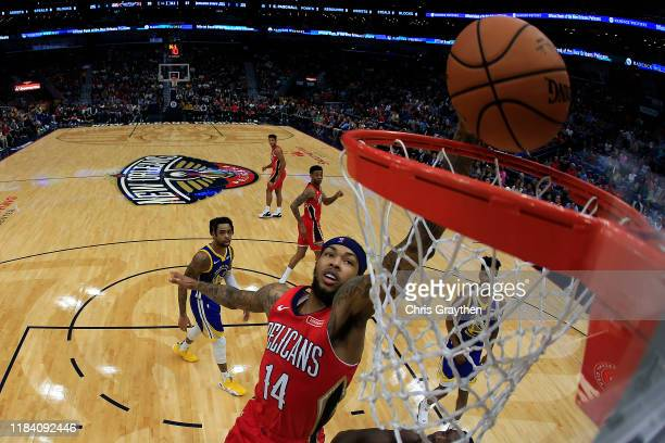 Brandon Ingram of the New Orleans Pelicans makes a layup against the Golden State Warriors at Smoothie King Center on October 28, 2019 in New...