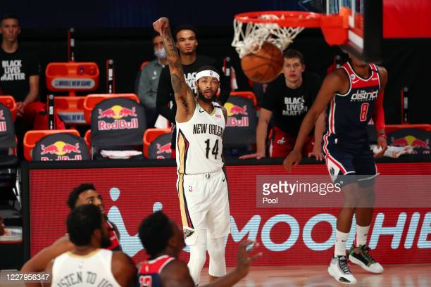 Brandon Ingram of the New Orleans Pelicans makes a three point basket during the first quarter against the Washington Wizards in an NBA basketball...
