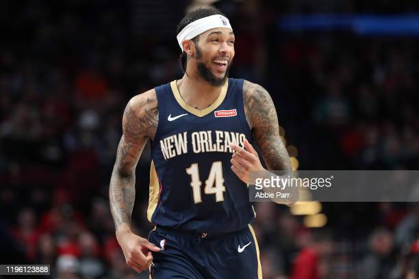 Brandon Ingram of the New Orleans Pelicans reacts in the third quarter against the Portland Trail Blazers during their game at Moda Center on...