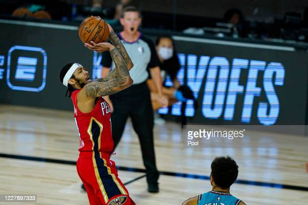 Brandon Ingram of the New Orleans Pelicans shoots against the Memphis Grizzlies during the second half of an NBA basketball game at HP Field House at...
