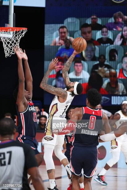 Brandon Ingram of the New Orleans Pelicans shoots the ball agains the Washington Wizards on August 7 2020 at The Arena at ESPN Wide World of Sports...
