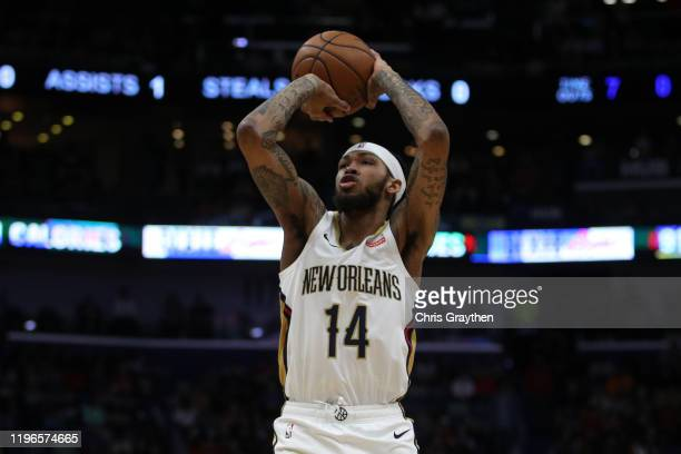 Brandon Ingram of the New Orleans Pelicans shoots the ball against the Houston Rockets at Smoothie King Center on December 29 2019 in New Orleans...