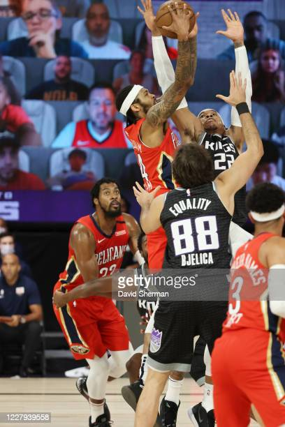Brandon Ingram of the New Orleans Pelicans shoots the ball against the Sacramento Kings on August 6 2020 at The Arena at ESPN Wide World of Sports in...