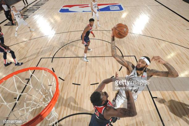 Brandon Ingram of the New Orleans Pelicans shoots the ball against the Washington Wizards on August 7 2020 at Visa Athletic Center at ESPN Wide World...