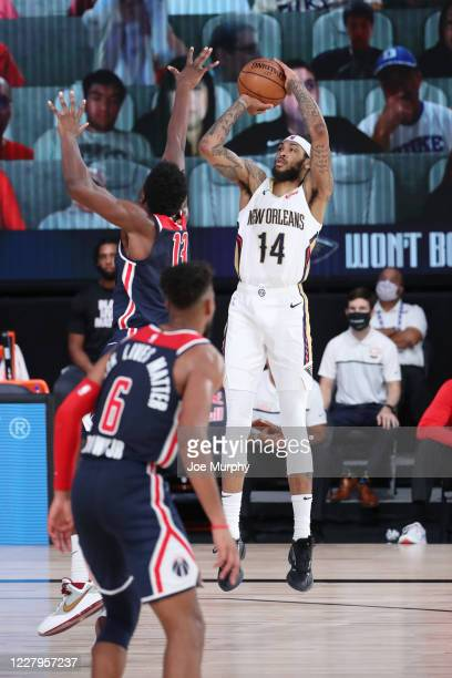 Brandon Ingram of the New Orleans Pelicans shoots the ball against the Washington Wizards on August 7 2020 at The Arena at ESPN Wide World of Sports...