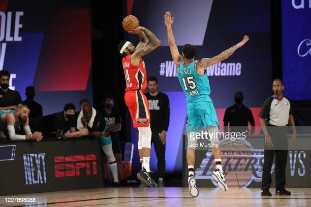Brandon Ingram of the New Orleans Pelicans shoots the ball during the game against the Memphis Grizzlies on August 3 2020 at The Visa Athletic Center...