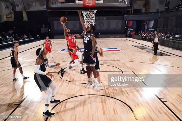 Brandon Ingram of the New Orleans Pelicans shoots the ball during the game against the Sacramento Kings on August 6 2020 at The HP Field House at...