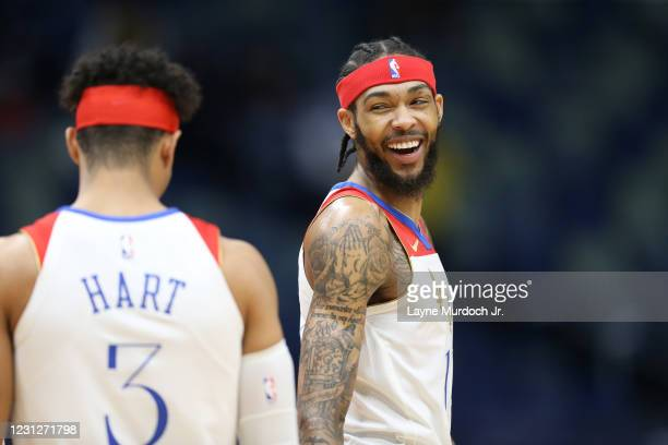 Brandon Ingram of the New Orleans Pelicans smiles during the game against the Phoenix Suns on February 19, 2021 at the Smoothie King Center in New...