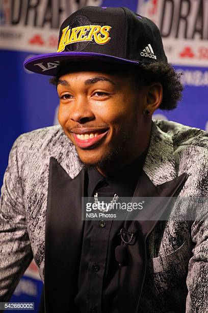 Brandon Ingram poses for a photo after being drafted number two overall by the Los Angeles Lakers during the 2016 NBA Draft on June 23 2016 at...