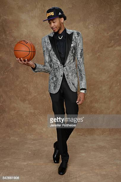 Brandon Ingram poses for a portrait after being drafted number two overall by the Los Angeles Lakers during the 2016 NBA Draft on June 23 2016 at...