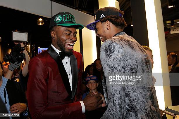 Brandon Ingram selected second greets Jaylen Brown selected third overall during the 2016 NBA Draft on June 23 2016 at Barclays Center in Brooklyn...