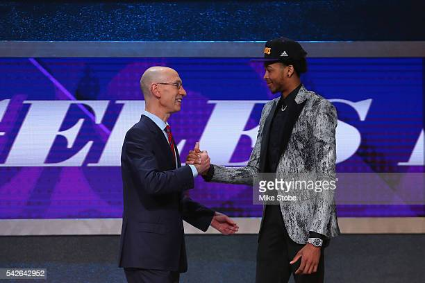 Brandon Ingram shakes hands with Commissioner Adam Silver after being drafted second overall by the Los Angeles Lakers in the first round of the 2016...