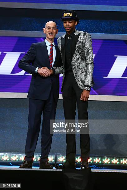 Brandon Ingram shakes hands with NBA Commissioner Adam Silver after being selected number two overall by the Los Angeles Lakers during the 2016 NBA...