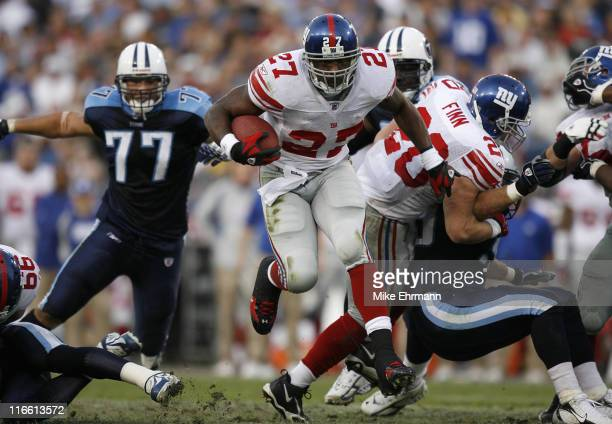 RB Brandon Jacobs of the New York Giants during a game against the Tennessee Titans at LP Field in Nashville Tennessee on November 26 2006