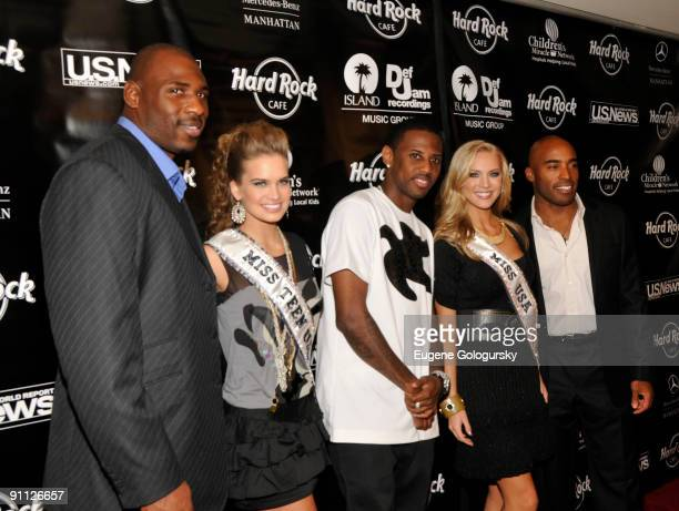 Brandon Jacobs Stormi Henley Fabolous Kristen Dalton and Tiki Barber attend the 3rd annual Tiki Rocks The Square for the Children's Miracle Network...