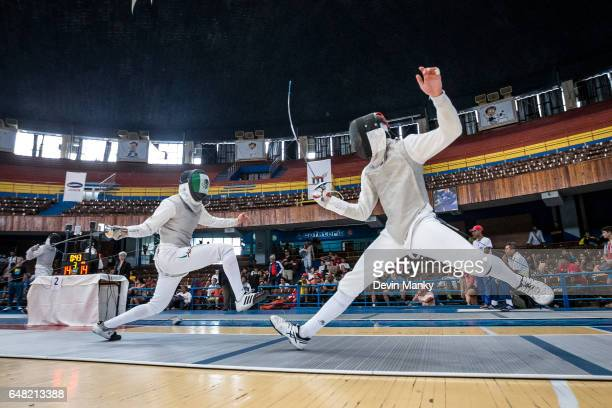 Brandon Jalowica of Canada fences against Hector Covarrubias of Mexico in the Junior Men's Foil competition at the Cadet and Junior PanAmerican...