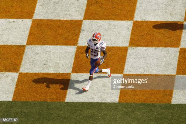 Brandon James of the Florida Gators scores a touchdown against the Tennessee Volunteers at Neyland Stadium on September 20, 2008 in Knoxville,...