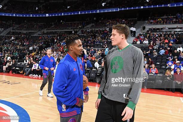 Brandon Jennings of the Detroit Pistons and Jonas Jerebko of the Boston Celtics talk before the game on December 26 2015 at The Palace of Auburn...