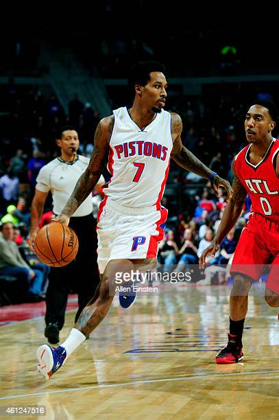 Brandon Jennings of the Detroit Pistons drives against the Atlanta Hawks on January 9 2015 at The Palace of Auburn Hills in Auburn Hills Michigan...
