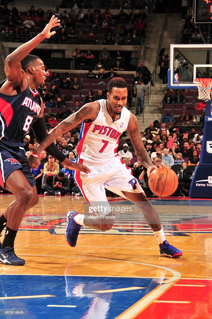 Brandon Jennings #7 of the Detroit Pistons handles the ball against the Atlanta Hawks on November 22, 2013 at The Palace of Auburn Hills in Auburn Hills, Michigan.