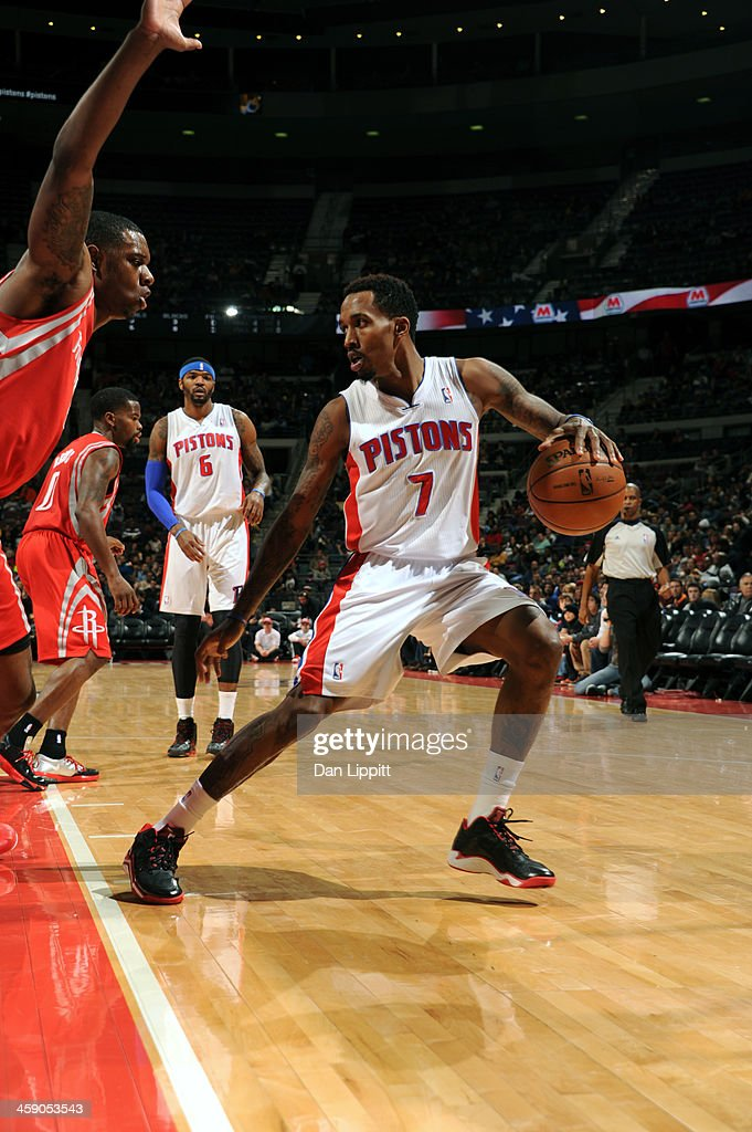 Brandon Jennings #7 of the Detroit Pistons handles the ball against the Houston Rockets on December 21, 2013 at The Palace of Auburn Hills in Auburn Hills, Michigan.