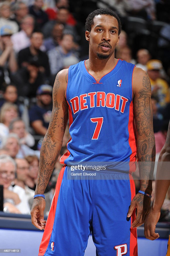 Brandon Jennings #7 of the Detroit Pistons stands on the court during a game against the Denver Nuggets on March 19, 2014 at the Pepsi Center in Denver, Colorado.