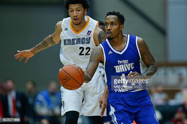 Brandon Jennings of the Grand Rapids Drive brings the ball up court against Maxie Esho of the Iowa Energy during the first half of an NBA DLeague...