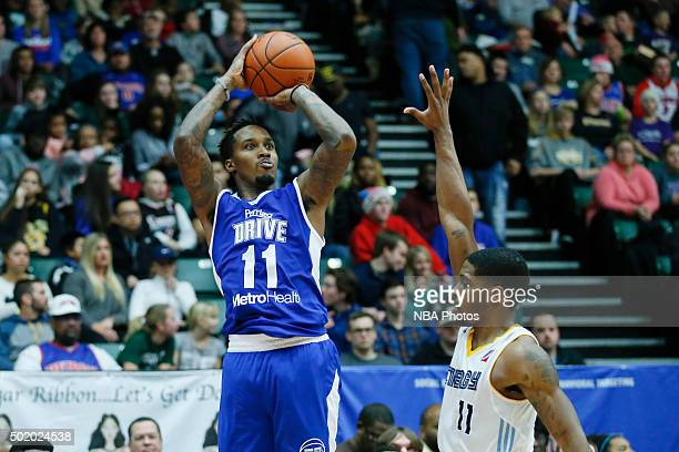 Brandon Jennings of the Grand Rapids Drive shoots against Lazeric Jones of the Iowa Energy during the second half of an NBA DLeague game on December...