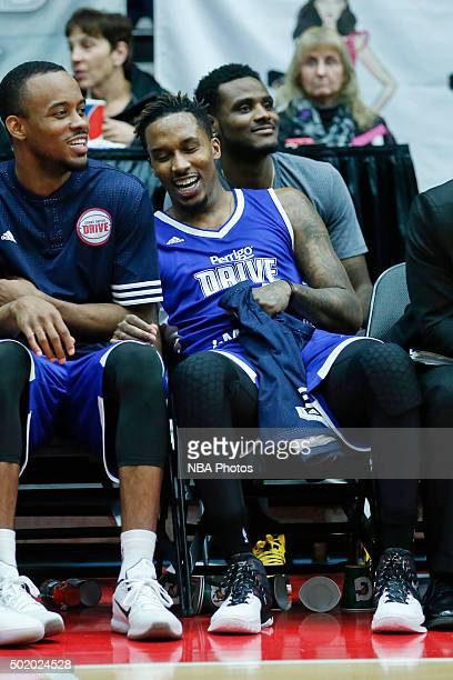 Brandon Jennings of the Grand Rapids Drive smiles while he sits on the bench during the second half of an NBA DLeague game against the Iowa Energy on...