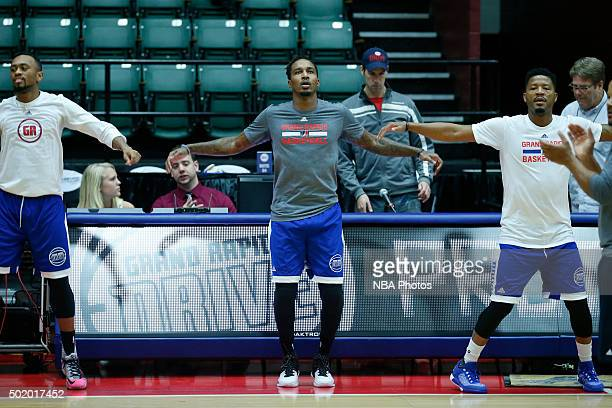 Brandon Jennings of the Grand Rapids Drive warms up before an NBA DLeague game on December 19 2015 at the DeltaPlex Arena in Grand Rapids Michigan...